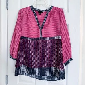 Pink and navy blouse